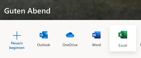 Office.com - Auswahl Anwendungen